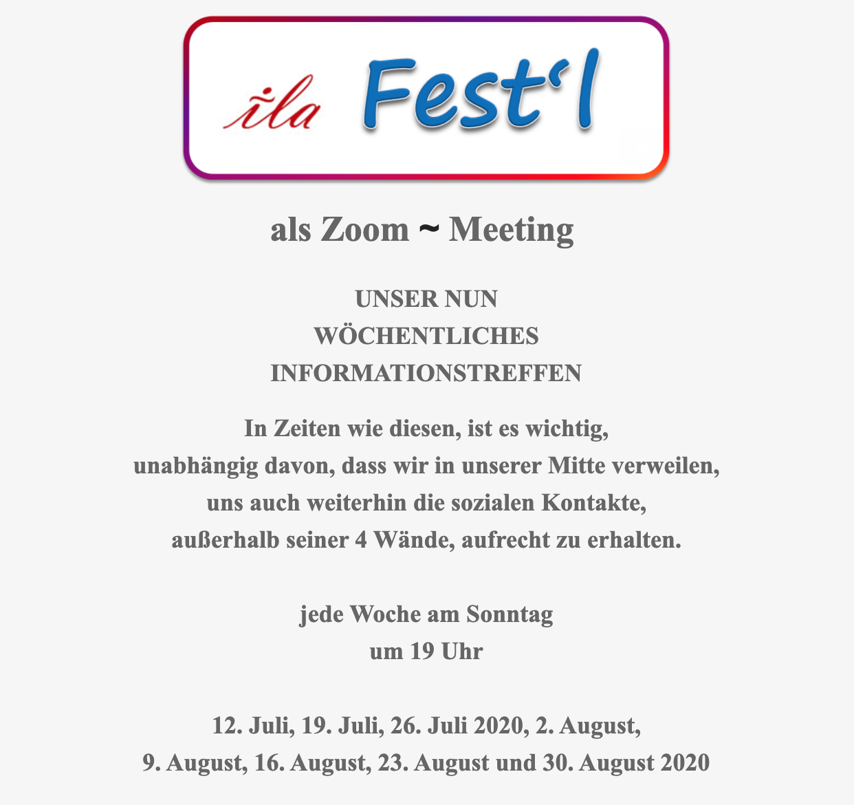 ila Festl Zoom Meeting